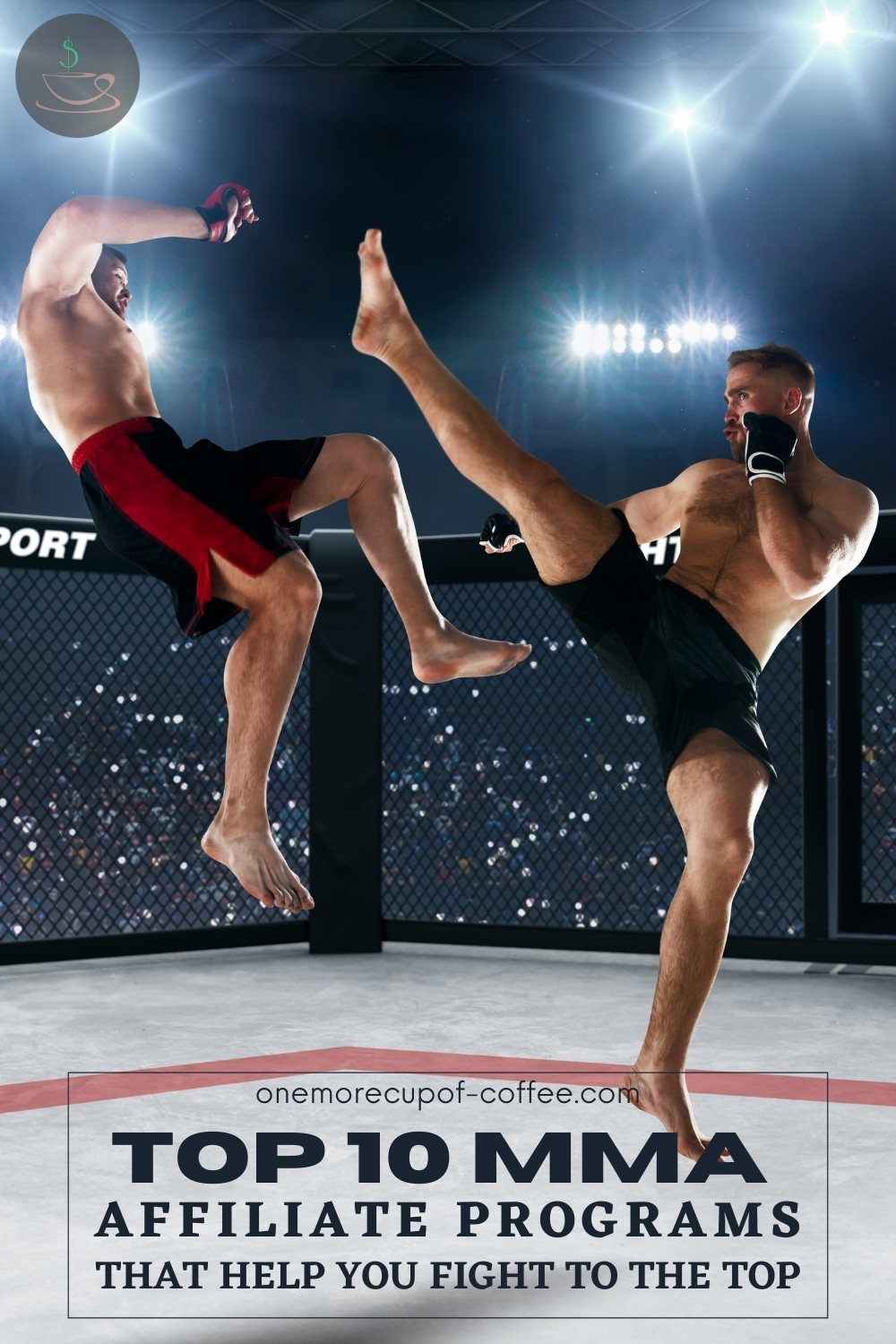 """two mma fighters in a battle for title inside the octagon, with text overlay """"Top 10 MMA Affiliate Programs That Help You Fight To The Top"""""""