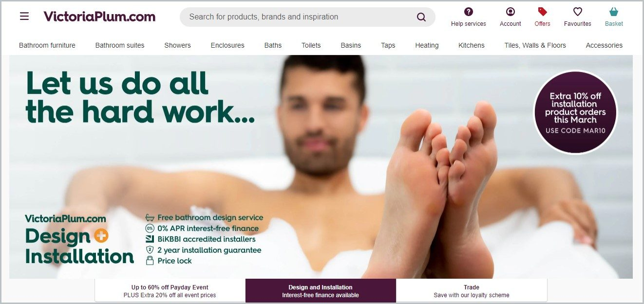 screenshot of VictoriaPlum.com homepage, with a picture of a man in a bath tub for main image
