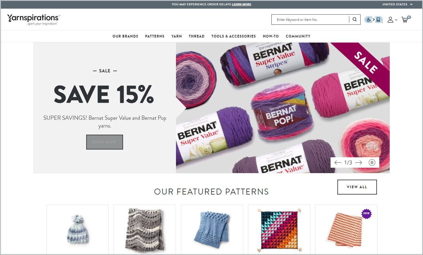 screenshot of Yarnspirations homepage, with a picture of different yarns for main image and different patterns