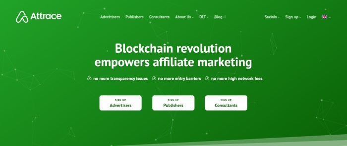 This screenshot of the home page for Attrace has a bright green background with white lettering and white call-to-action buttons announcing that blockchain technology empowers affiliate marketing.