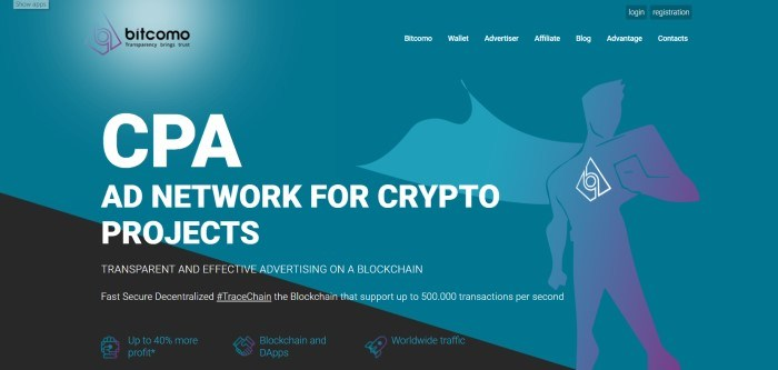 This screenshot of the home page for Bitcomo shows a teal and black background with white lettering announcing Bitcomo as an ad network for crypto projects and a white outline of a superhero figure on the right side of the page.