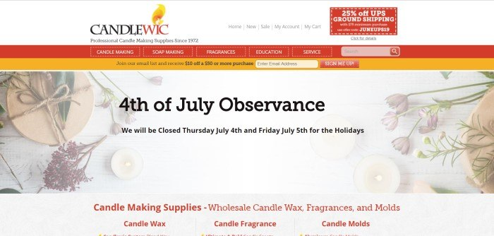 This screenshot of the home page for Candlewic shows a white filtered photo looking down on sprigs of flowers and lit candles, with a note in black lettering about the Fourth-of-July observance, and a white banner at the top with the Candlewic logo and a red navigation bar.