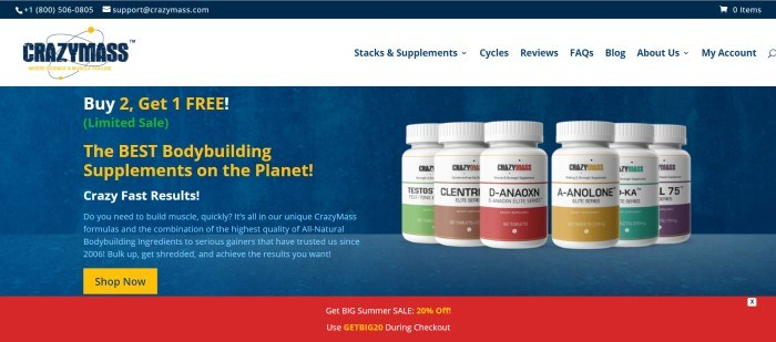 This screenshot of the home page for Crazy Mass has a blue background with red and white accents and white, green, and yellow text announcing a buy-two, get-one-free sale, along with a row of around 5 different sports supplement products.