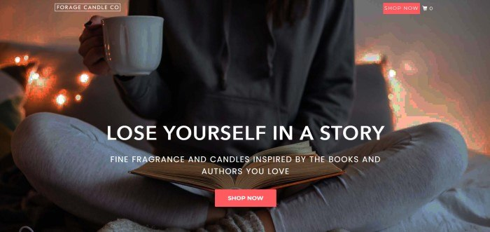 This screenshot of the home page for Forage Candle Co. shows someone sitting cross-legged in a candle-lit room, with an open book resting in the person's lap.