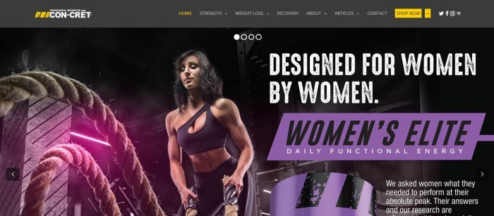This screenshot of the home page for ProMera Sports shows a woman in black workout clothing using battle ropes at a gym, along with an announcement in purple, black, and white for a product called Women's Elite.