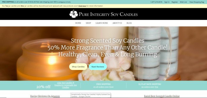 This screenshot of the home page for Pure Integrity shows a lit candle near a group of unlit candles and a flower.