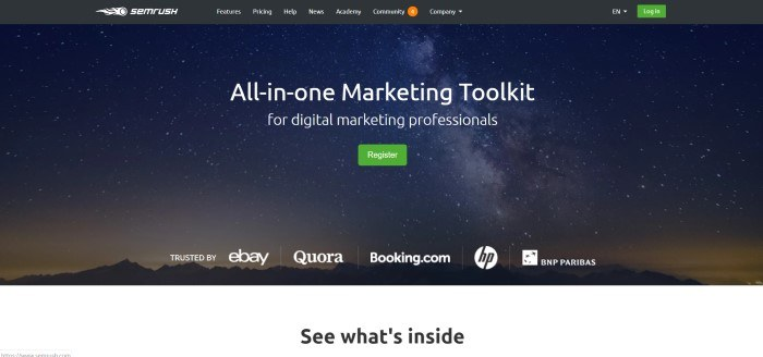 "This screenshot of the home page for SEMRush shows a starry sky over a mountain range, with white lettering in front of it that reads ""All-in-one Marketing Toolkit for digital marketing professionals."""