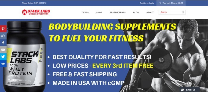 This screenshot of the home page for Stack Labs has a dark blue background with a photo of a whey protein supplement on the left side of the page and a black and white photo of a man pumping iron on the right side of the page, with white and yellow text between them explaining the product features.