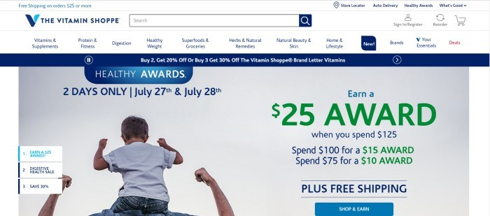 This screenshot of the home page for The Vitamin Shoppe shows a child on the shoulders of a man, who is facing away, while both of them raise their arms in a victorious 'show-me-your-muscles' pose, along with blue and green text announcing a program called Healthy Award and a blue call-to-action button.