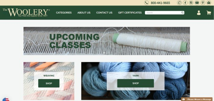 """This screenshot of the home page for The Woolery shows a photo of a closeup of a loom with the words """"upcoming classes"""" on it above a photo of a weaving project and a photo of blue skeins of yarn, both with links for shopping."""