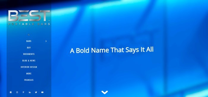 This screenshot for the home page of Best Portable Bars shows a closeup of a blue back-lit portable bar, with white lettering that reads 'A bold name that says it all.'