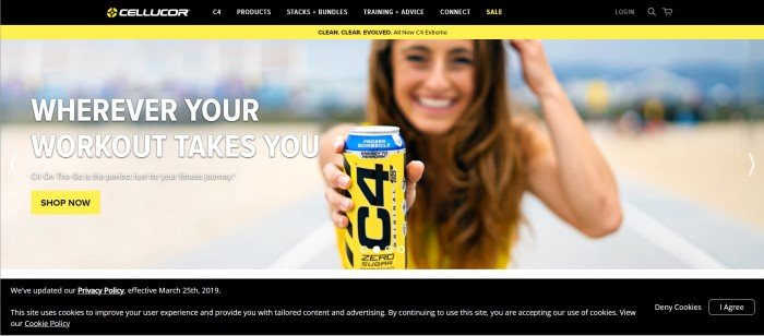 This screenshot of the home page for Cellucor has black and yellow accents and shows a photo of a woman on a beach about to drink a carbonated C4 pre-workout supplement, next to text in white lettering that introduces the supplement as C4 On The Go.