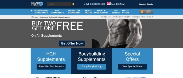 This screenshot of the home page for HGH.com shows a white background with blue and darker blue squares behind text in white lettering, introducing what HGH has to sell, along with a black and white photo of a man working out.
