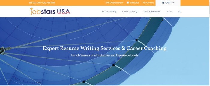 The screenshot of the home page for Jobstars shows the underside of a blue parachute with a bit of blue sky showing beyond it, with white lettering in front of the picture that reads 'Expert resume writing services & career coaching.'