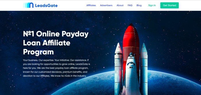 This screenshot of the home page for LeadsGate shows a red rocket carrying three shuttles into space past a blue planet, with text in white lettering to the left side of the page.