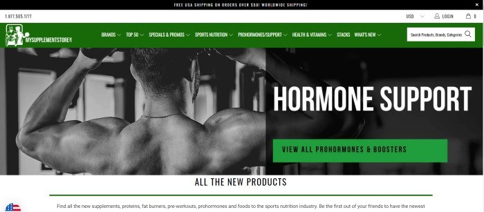 This screenshot of the home page for My Supplement Store shows a black and white photo of a shirtless man facing away from the camera as he works out, along with white text and green navigation bars with black text introducing prohormones supplements.