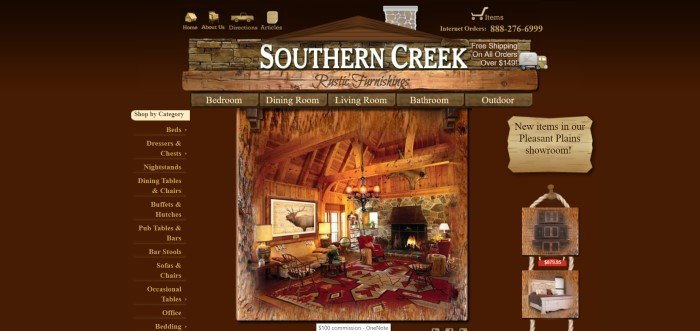 This screenshot of the home page for Southern Creek Furniture shows a cabin living room with rustic furniture made by Southern Creek, a red rug, and wooden rafters in the ceiling.