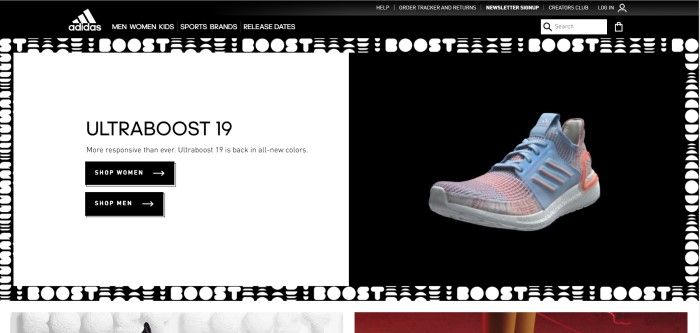 This screenshot of the homepage for Adidas shows a white background on the left, with black text announcing a new Boost sneaker, and a background on the right with a photo of the multicolored sneaker.