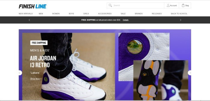 This screenshot of the homepage for Finish Line shows a pair of white sneakers on someone's feet and a few closeup views of some of the details on this particular brand of sneakers.