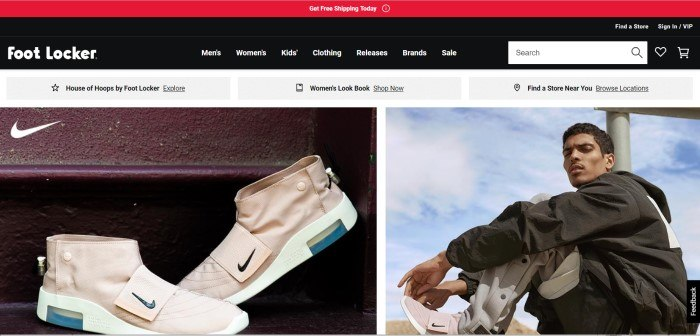 This screenshot of the homepage for Foot Locker shows two side by side photos, with the one on the left zeroing in on a pair of beige Nike sneakers, and the one on the right showing a man in a black jacket and beige pants wearing those sneakers.