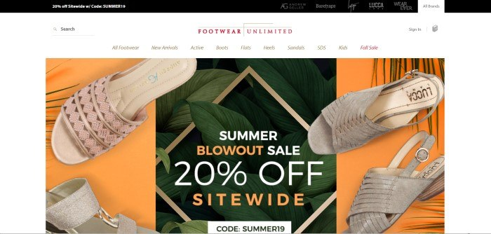 This screenshot of the homepage for Footwear Unlimited has an orange background with various sandals and an announcement for a 20% off summer sale on sandals.