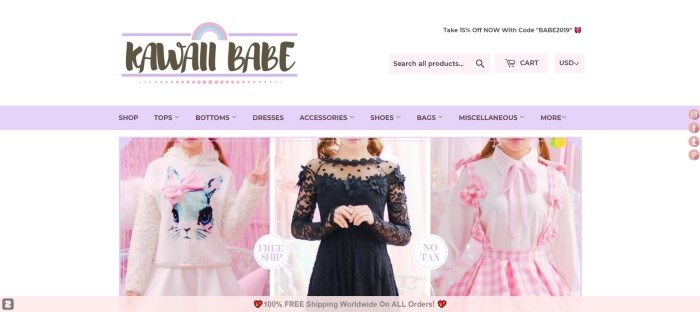 This screenshot of the Kawaii Babe homepage shows three photos of featured items, including a white bunny sweater, a black lacy dress, and a white shirt with a pink and white gingham jumper.