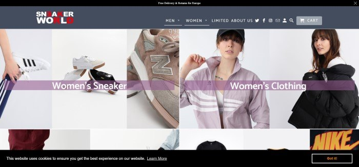 This screenshot of the homepage for Sneakerworld shows a collage of women's sneakers and apparel on a mostly white background.