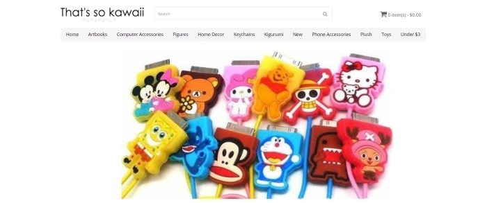 This screenshot of the homepage for That's So Kawaii shows a variety of kawaii mascot USB cords.