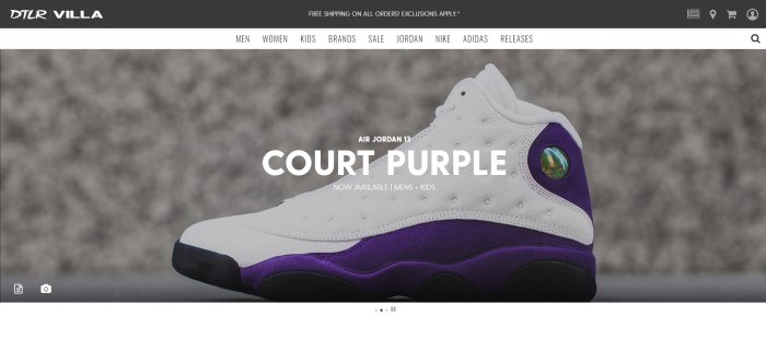 This screenshot of the homepage for DTLR Villa shows one white and purple Air Jordan sneaker in front of a beige background.
