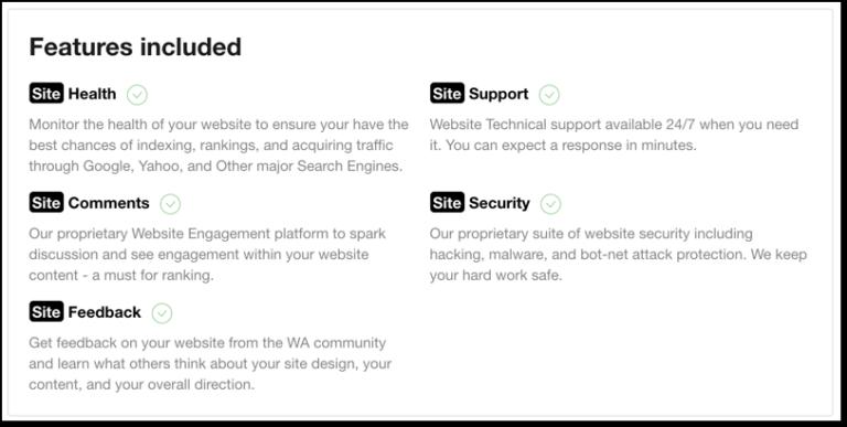 website features extras