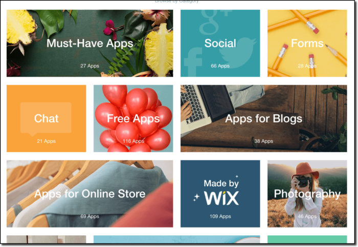 showing wix apps available to add to your website