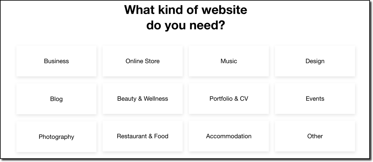wix prompt asking what type of website we are building