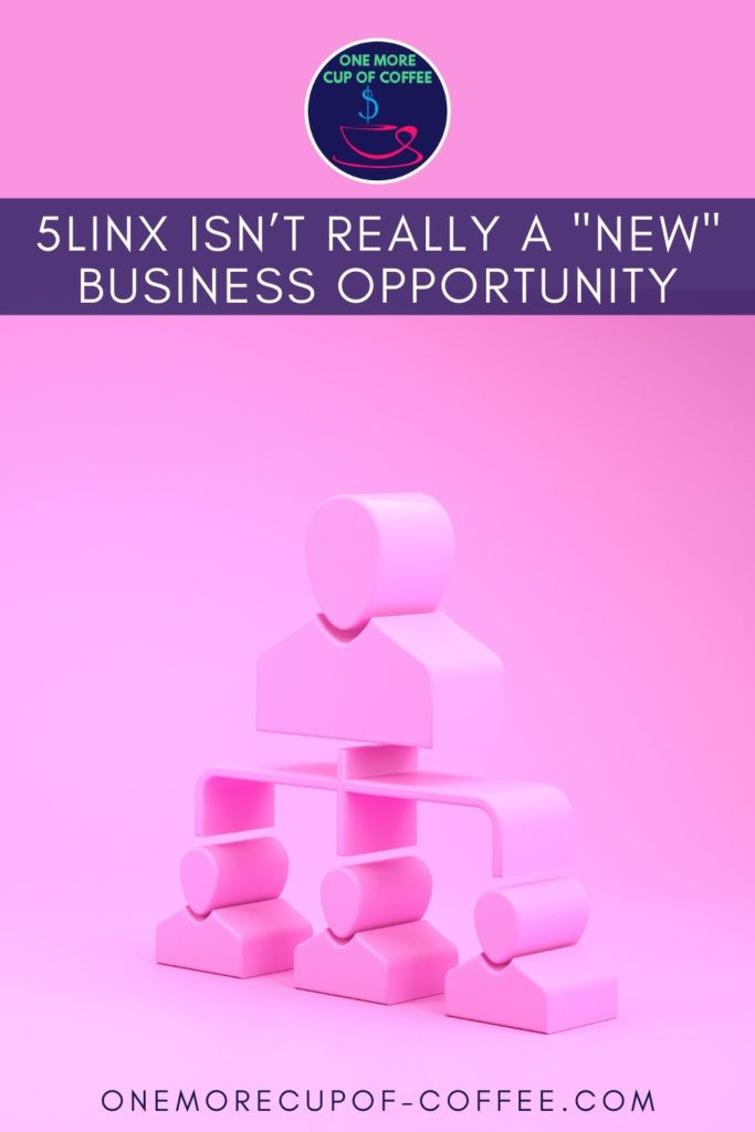 """illustration of a multi-level marketing icon against a pink background; with text overlay on blue banner """"5LINX Isn't Really A _New_ Business Opportunity"""""""