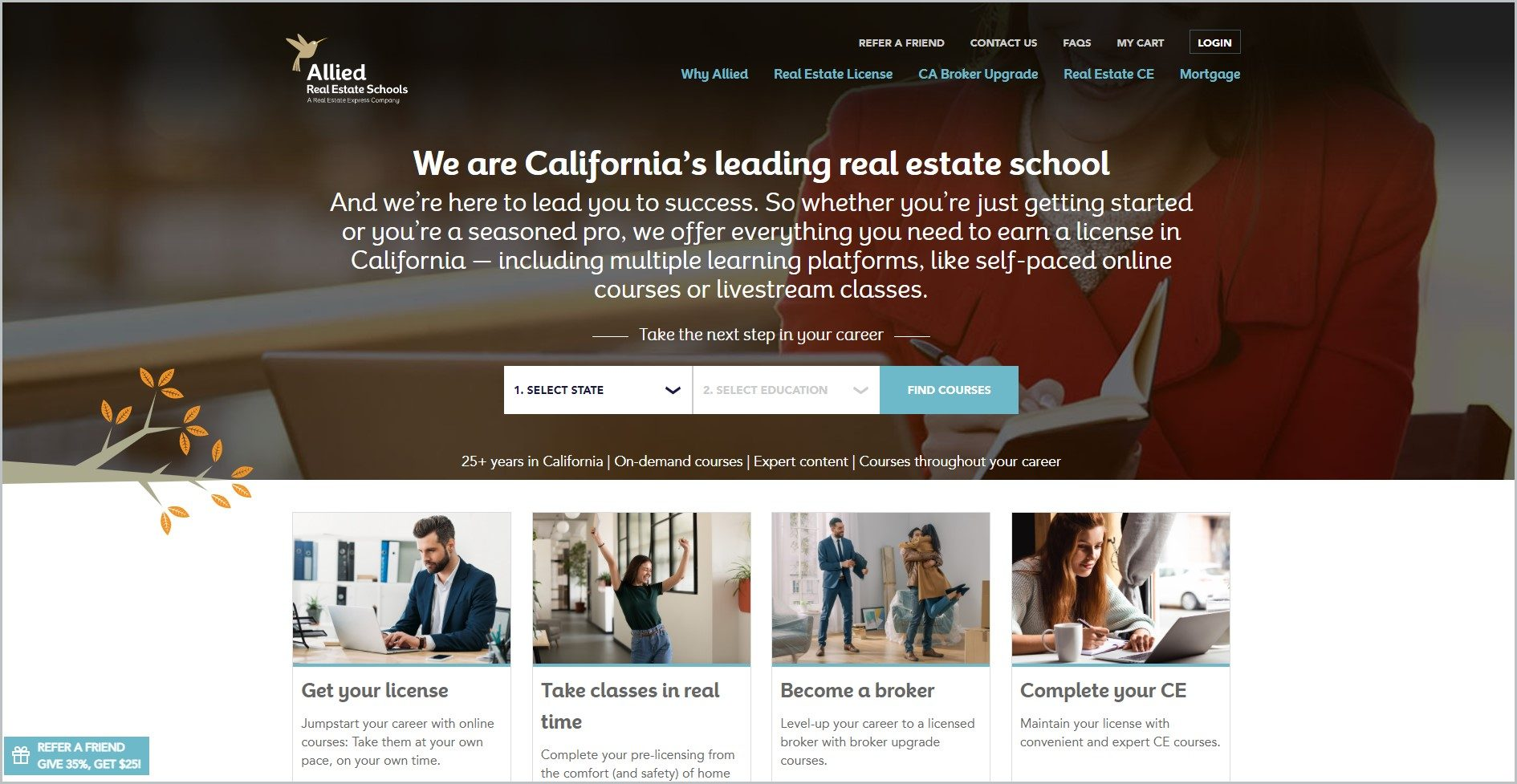 screenshot of Allied Schools homepage