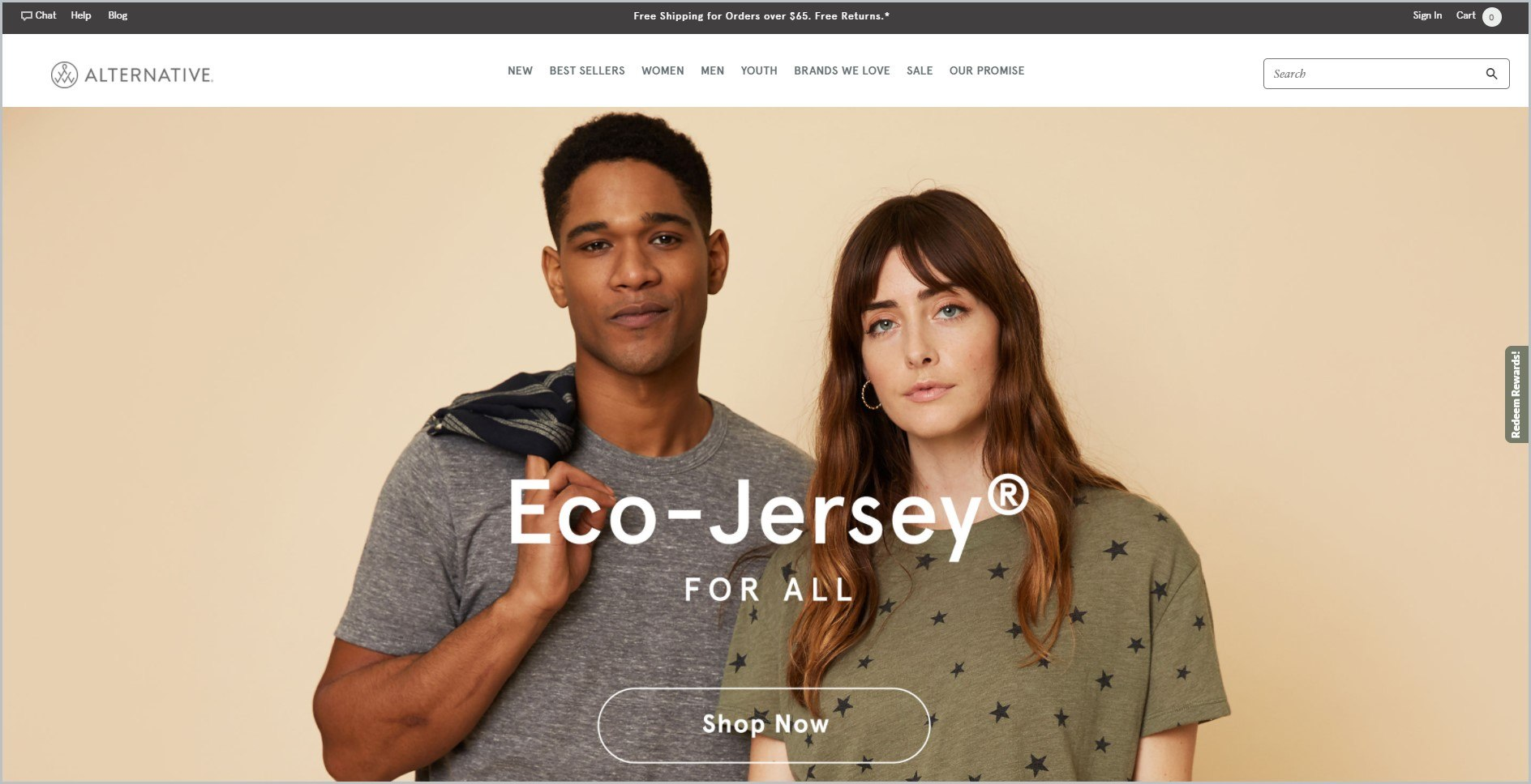 screenshot of Alternative Apparel homepage, with an image of a male an female model wearing the company's apparel
