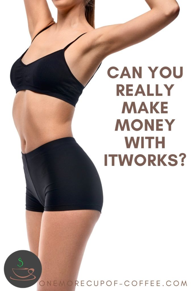 """closeup side view image of a woman's body in black pair of underwear showing body's contour, with arms raised up; with text overlay """"Can You Really Make Money With ItWorks?"""""""