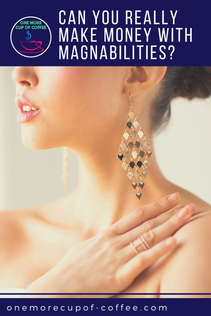 closeup image of a model's face and shoulder showing an earring and a ring; with text at the top in blue banner