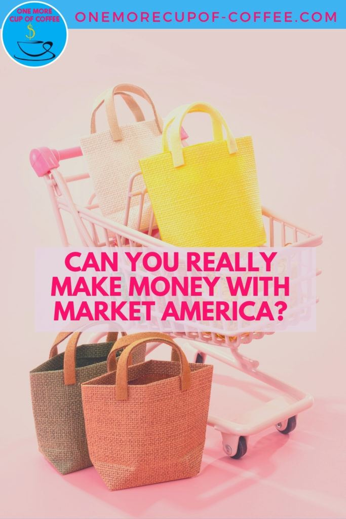 tiny shopping cart with tiny shopping bags on it against a pink background; with text overlay