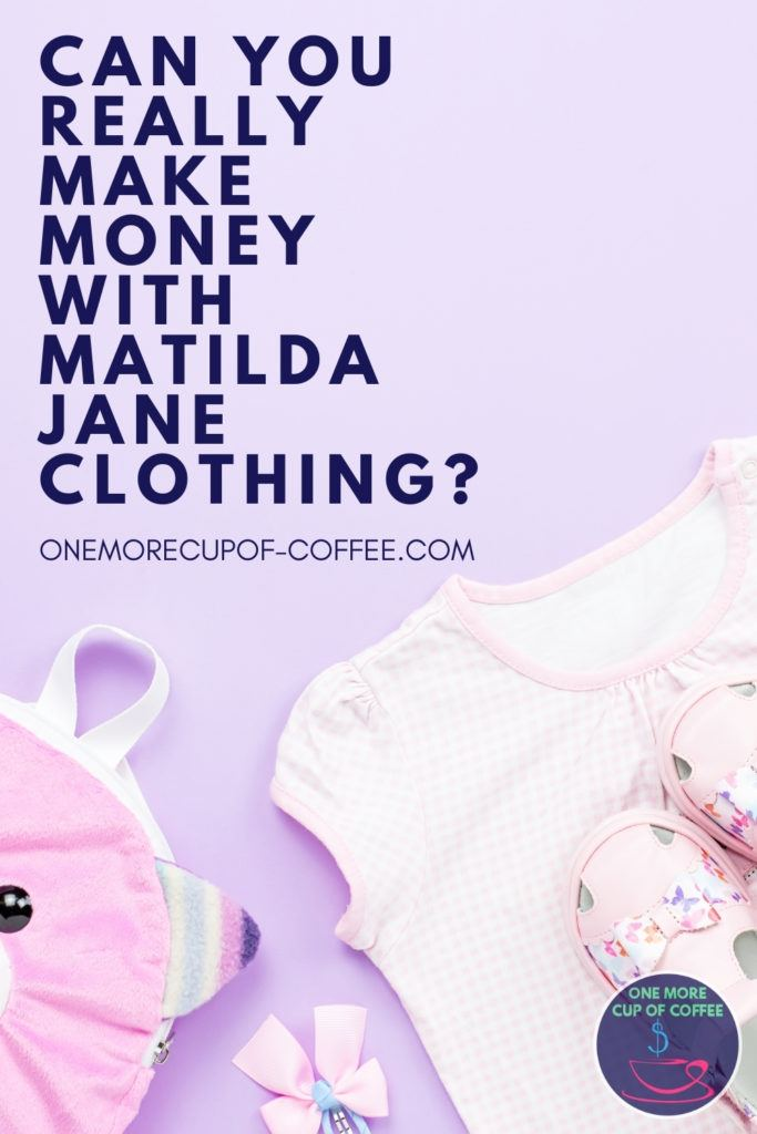 closeup image of a girl's blouse, shoes, accessories, in lavender background; with text overlay