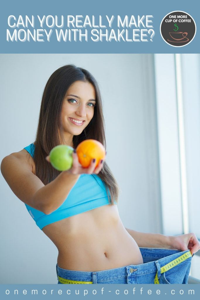 long-haired woman in cropped top and oversized jeans with tape measure as belt' holding a green apple and orange to the camera; with text at the top in powder blue banner