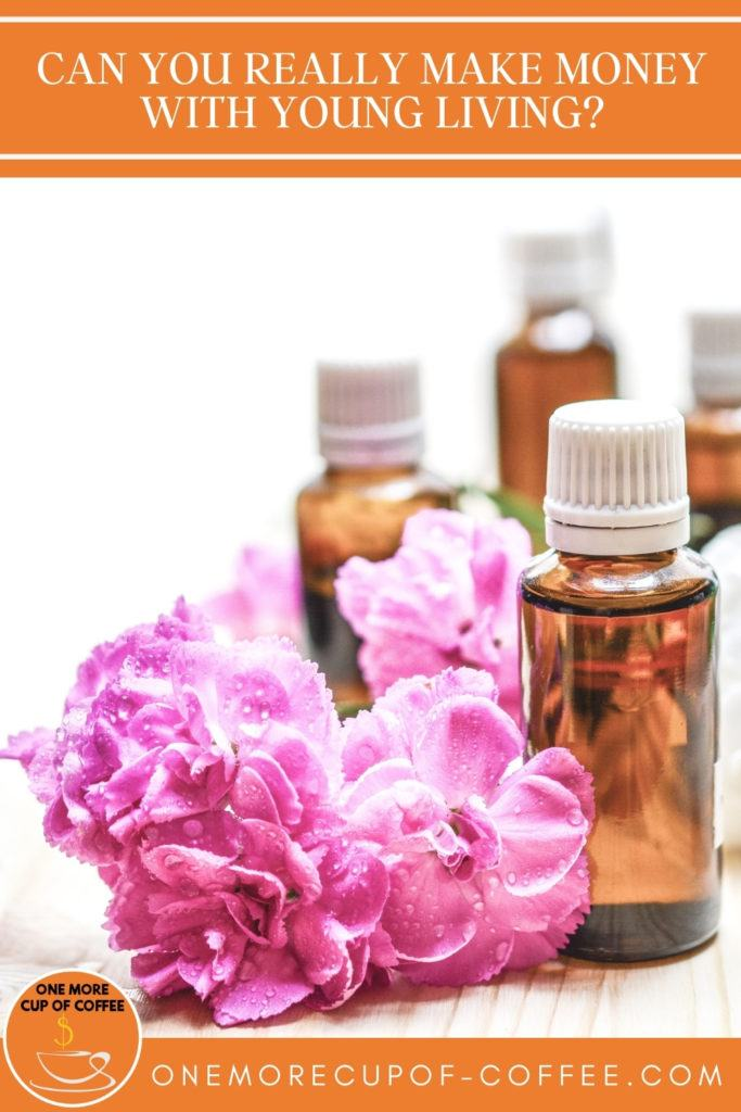 cluster of pink flowers scattered around 4 small amber bottles of essential oils; with text at the top in orange banner