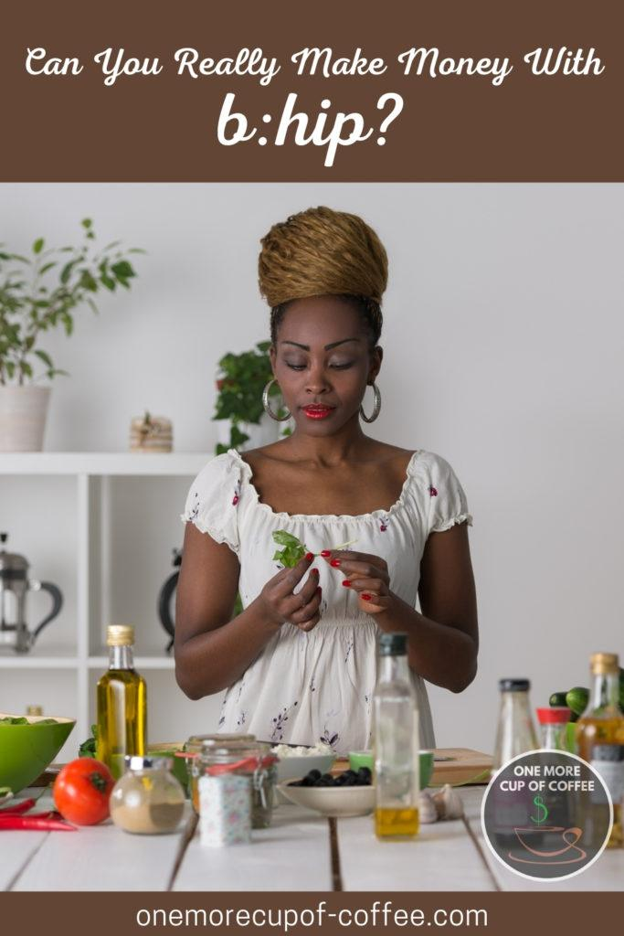 woman preparing healthy and natural food with healthy foods on the table; with text at the top