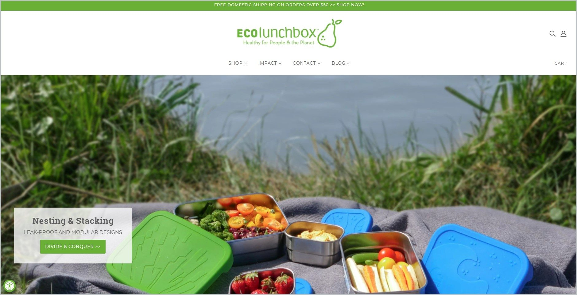 screenshot of ECOlunchbox showcasing an image of stainless steel food containers