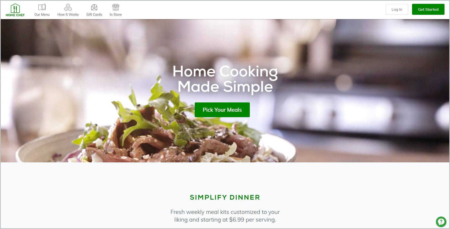 screenshot of Home Chef homepage with a picture of beautifully plated dish for main image
