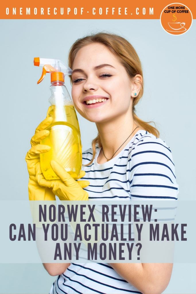 """woman with white and blue stripes shirt wearing yellow cleaning gloves, and holding a spray bottle with yellow cleaning liquid in it; with text overlay """"Norwex Review: Can You Actually Make Any Money"""""""