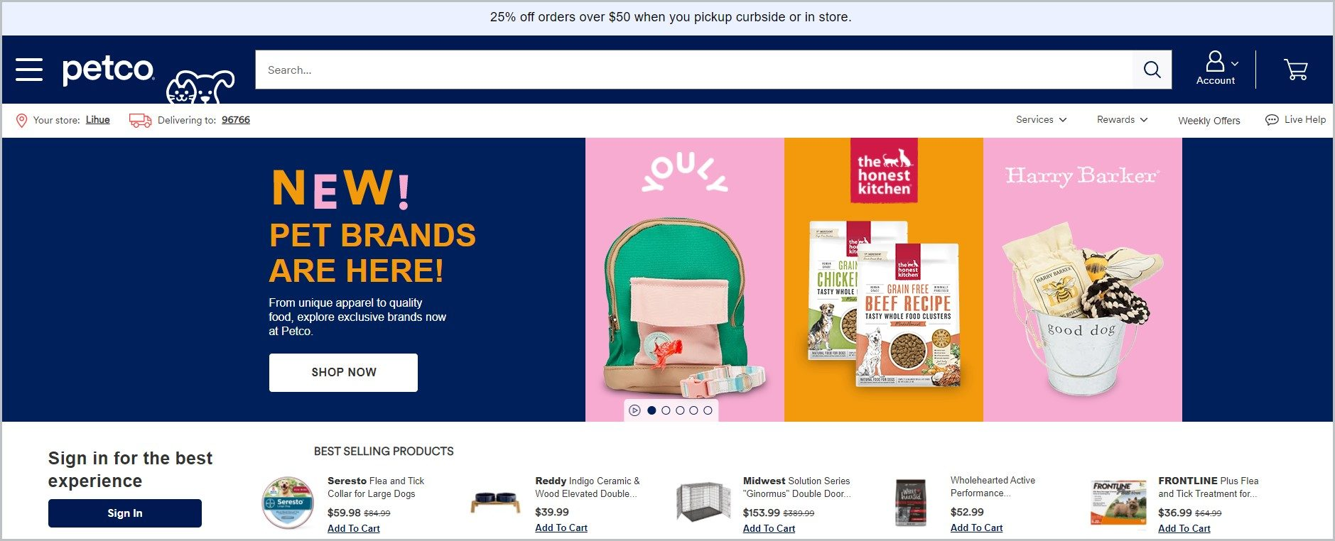 screenshot of Petco homepage showcasing different products