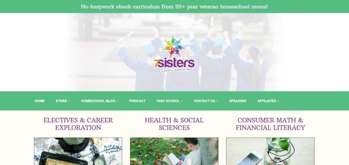 This screenshot of the home page for 7 Sisters Homeschool includes a white-filtered photograph of students in graduation caps and gowns, facing away from the camera, behind the 7 Sisters logo, and the page also includes a green header and navigation bar and three smaller sections with photographs and green accents to allow shoppers to filter their searches for topics including career exploration, consumer math and financial literacy, and health and sciences.