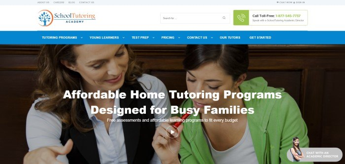 This screenshot of the home page for School Tutoring Academy has a white header and a blue navigation bar above a large photo of one woman tutoring another, behind white text announcing affordable tutoring services.