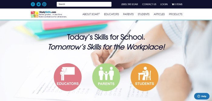 This screenshot of the home page for Soar shows a large photo with a hand holding a pen, hovering over a worksheet near a stack of multicolored books, behind black text announcing study skills for school and for tomorrow's workplace, and three multicolored circles that shoppers can use to filter their search for products for educators, parents, and students.