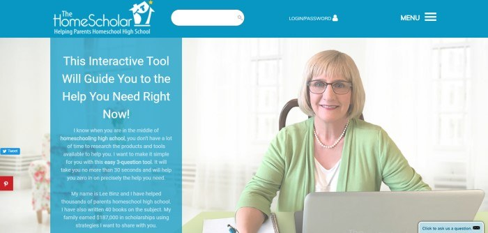 This screenshot of the home page for The Home Scholar includes a blue section with white text on the left side of the page that introduces Lee Binz as a homeschooling expert and a picture of a woman with shoulder-length blonde hair and a green cardigan sitting behind a table on the left side of the page.